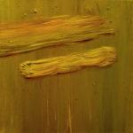 """Nowosielski (Jerzy Nowosielski, """"Pejzarz z koleją wąskotorową"""", 1956), , oil on canvas, 30 x 30 cm, 2017"""
