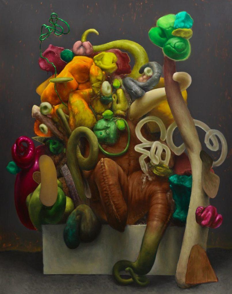 golem (on the pedestal), acrylic and oil on canvas, 190x150cm, 2020